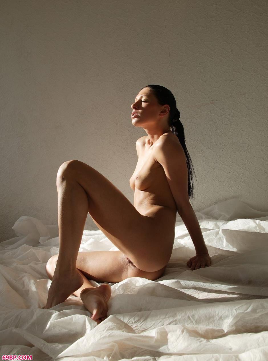 嫩模埃莱娜纱布上的抚媚人体